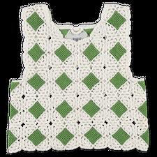 Bode                                               Green Diamond Crochet Tank - Green / White