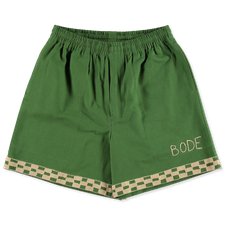 Bode                                               Checkerboard Rugby Shorts - Green / White