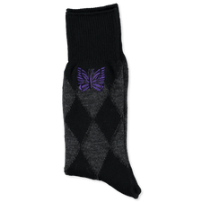 Needles Argyle Jq. Socks - Charcoal