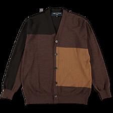 Comme des Garçons Homme                            Patchwork Wool Cardigan - Beige/Brown