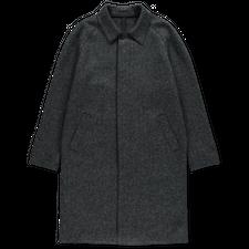Harris Wharf London Fly Front Raglan Coat Herringbone - Grey Blue