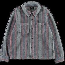 Stüssy Stripe Sherpa Shirt - Blue
