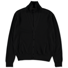 Lemaire Double Layer Cardigan - Black
