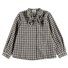 Toast                                              Field Check Tie Neck Shirt - Black/Ecru