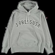 J.Press                                            Recycled Supima Logo Hoodie - Grey