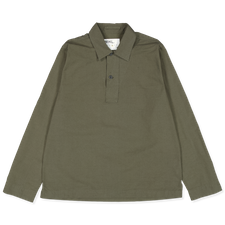 Margaret Howell MHL LS Faced Collar Polo Shirt - Forest