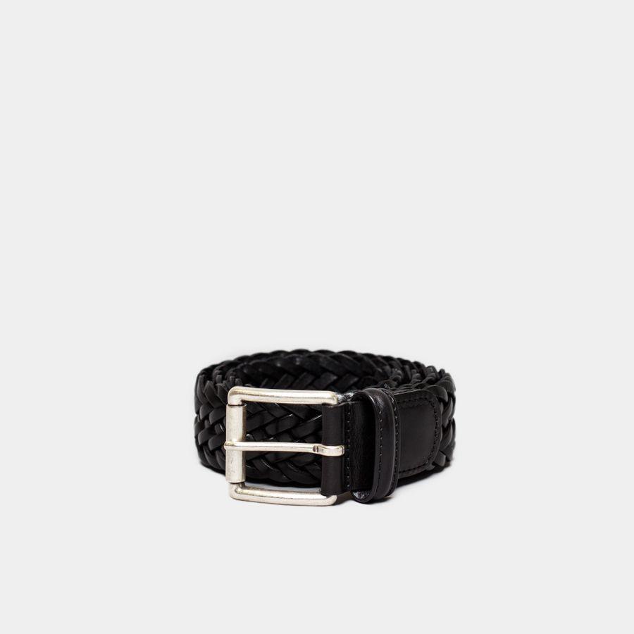 Braided Leather Belt Black