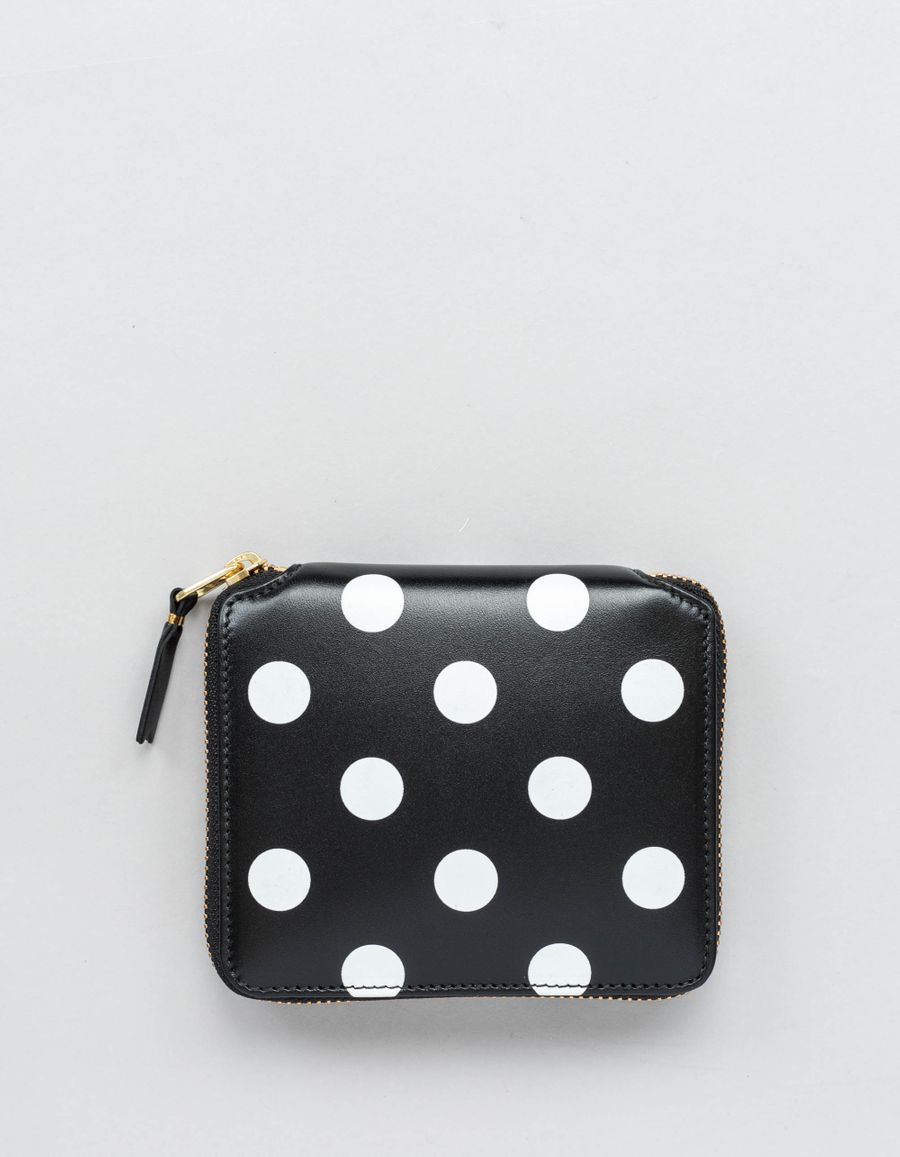 Full Zip Classic Wallet -Dots Black