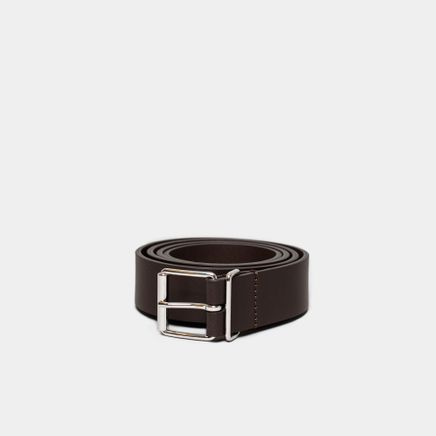 Caviar Leather Belt Dark Brown