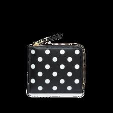 Comme des Garçons Wallet Half Zip Wallet - Dots Black - Black