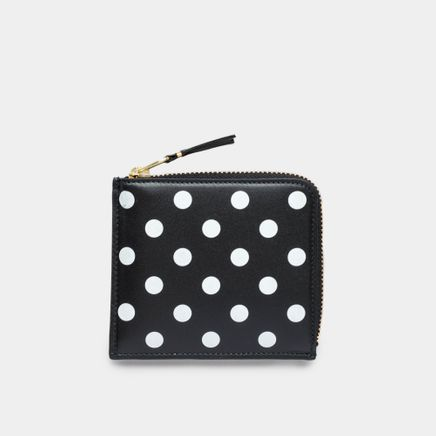 Half Zip Wallet - Dots Black